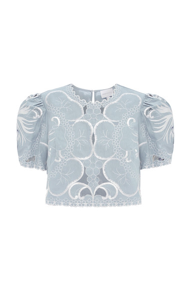 Alice McCall Dissolving Hearts Linen Crop Top in blue