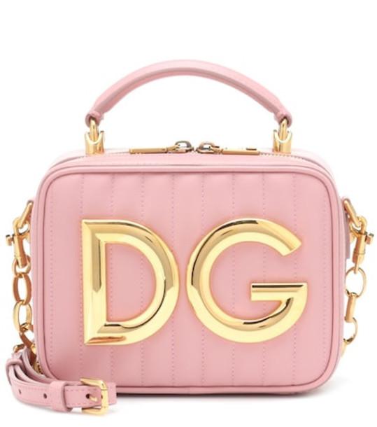 Dolce & Gabbana DG Girls Mini leather shoulder bag in pink
