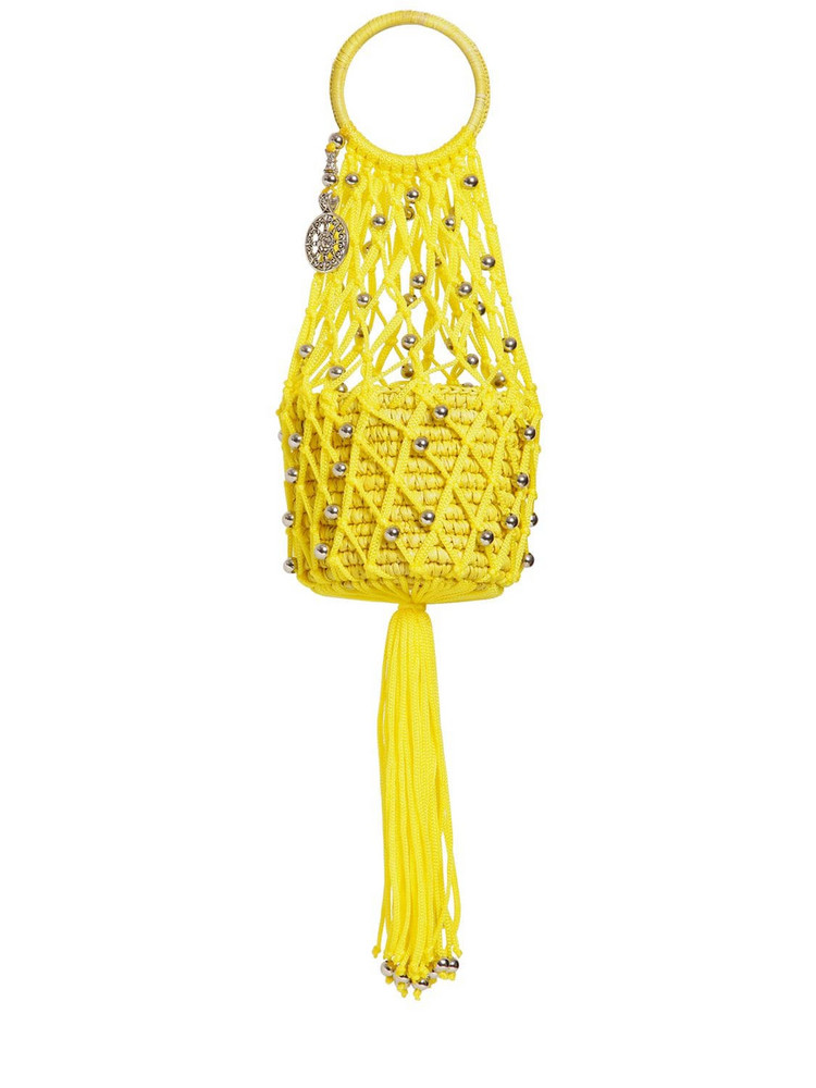 SENSI STUDIO Mini Straw & Cord Handbag in yellow