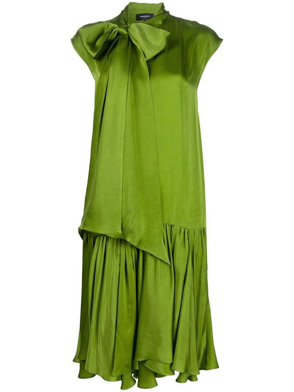 Rochas pussybow straight fit dress in green