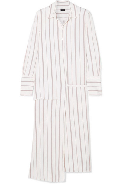 Joseph - Claudi Asymmetric Striped Poplin Wrap Dress - White