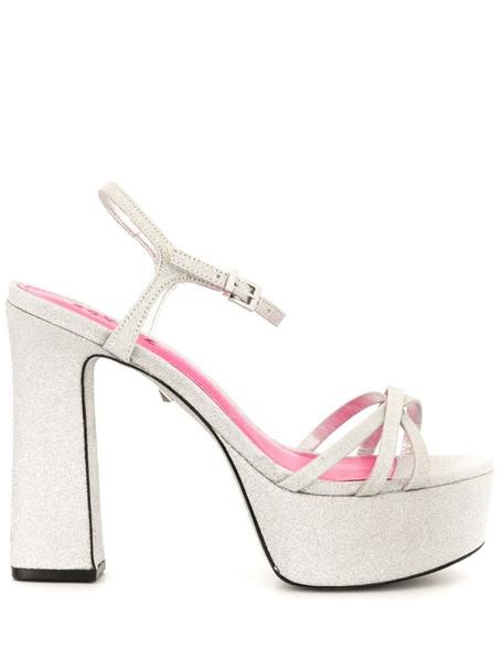 Schutz New Mini Shine Platform sandals in silver