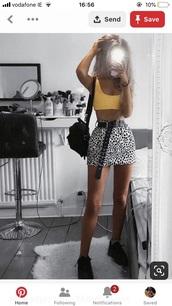 skirt,a black and white patterned denim skirt