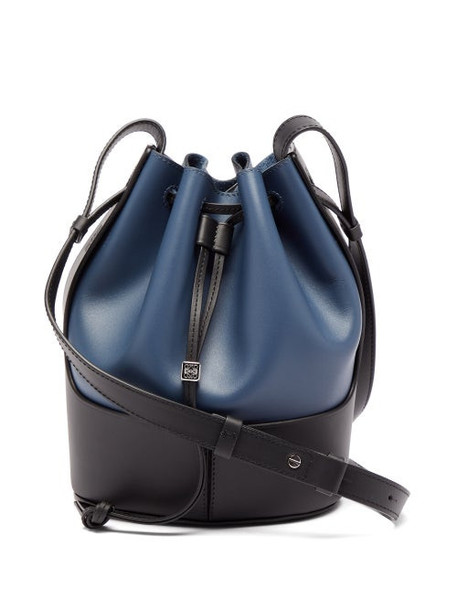 Loewe - Balloon Small Leather Shoulder Bag - Womens - Navy Multi