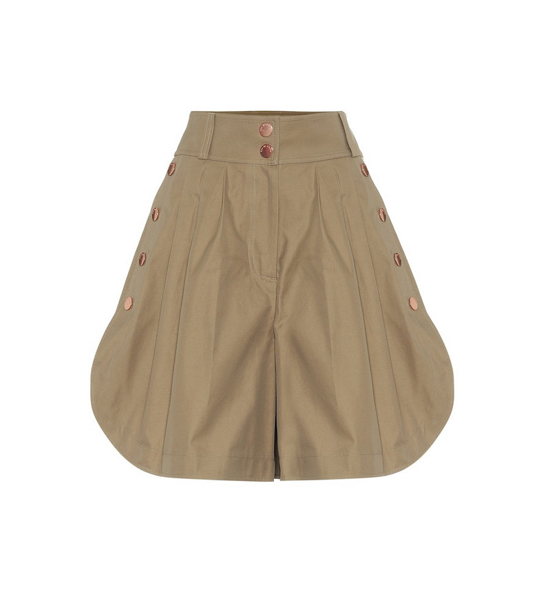 See By Chloé High-rise wide-leg cotton shorts in brown
