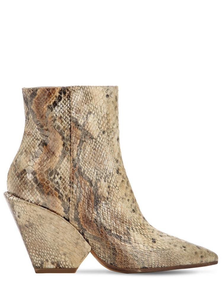ELENA IACHI 80mm Snake Print Fabric Ankle Boots in beige / beige