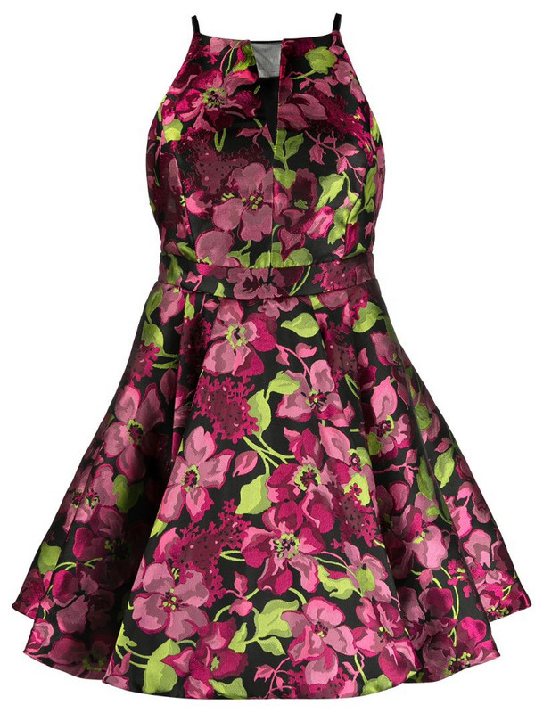 Twin-Set sleeveless flared floral dress in black