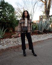 jacket,plaid,black boots,cropped jeans,black jeans,white top,black bag