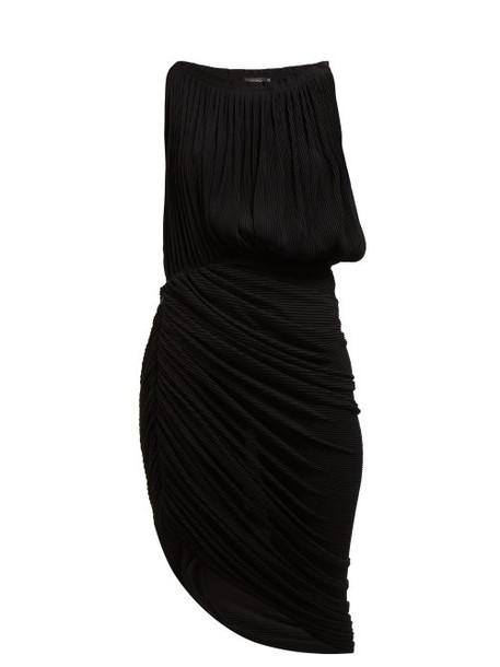 Atlein - Micro Pleated Draped Chiffon Midi Dress - Womens - Black