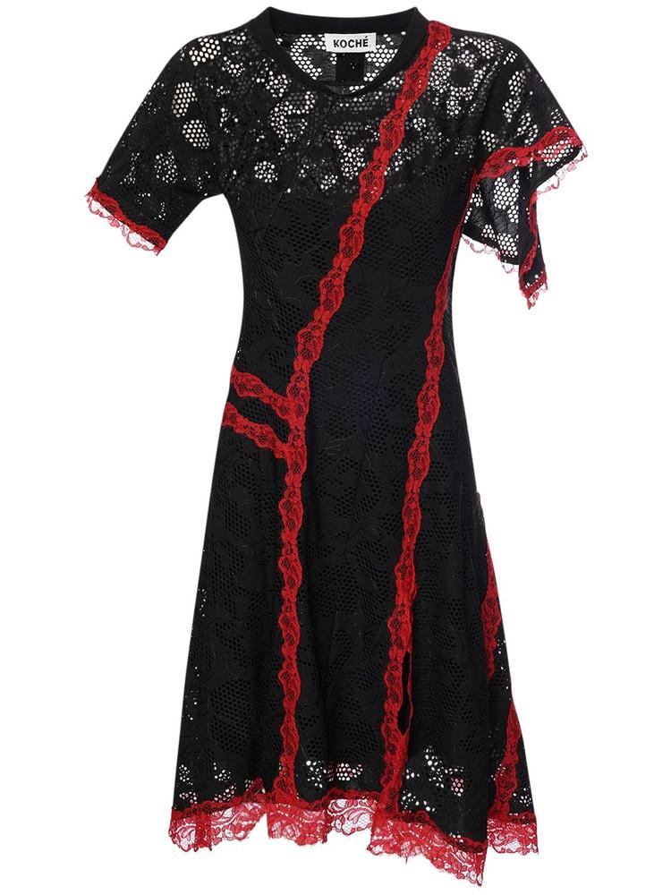 KOCHE' Sheer Lace Mini Dress in black / red