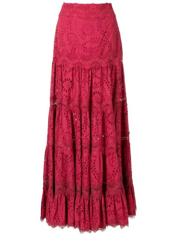 Martha Medeiros Dora broderie anglaise midi skirt in red
