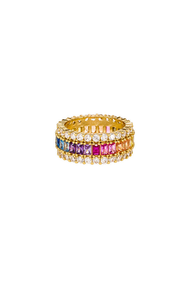 The M Jewelers NY Three Row Rainbow Ring in gold / metallic