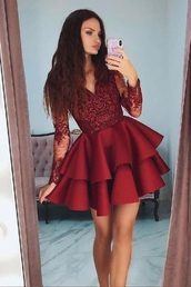 dress,red dress,red,long sleeves,lace sleeves