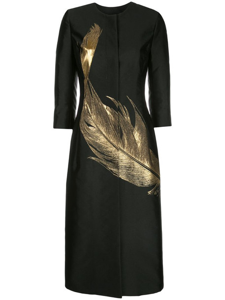 Oscar de la Renta feather long panelled coat in black