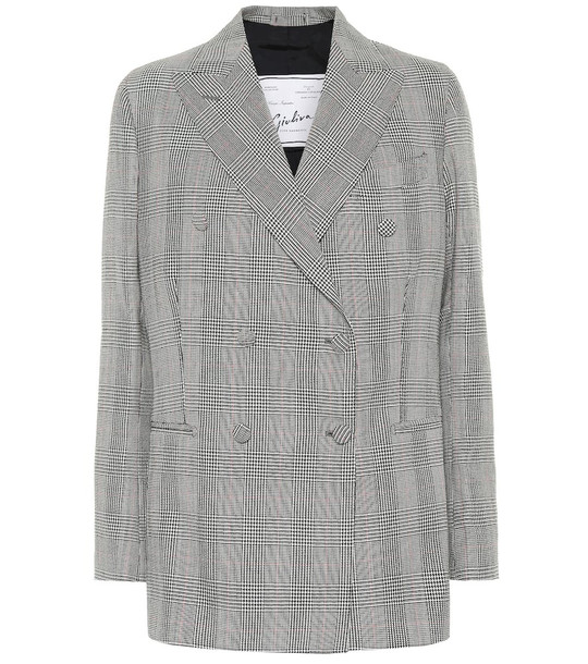 Giuliva Heritage Collection Cornelia checked wool blazer in grey