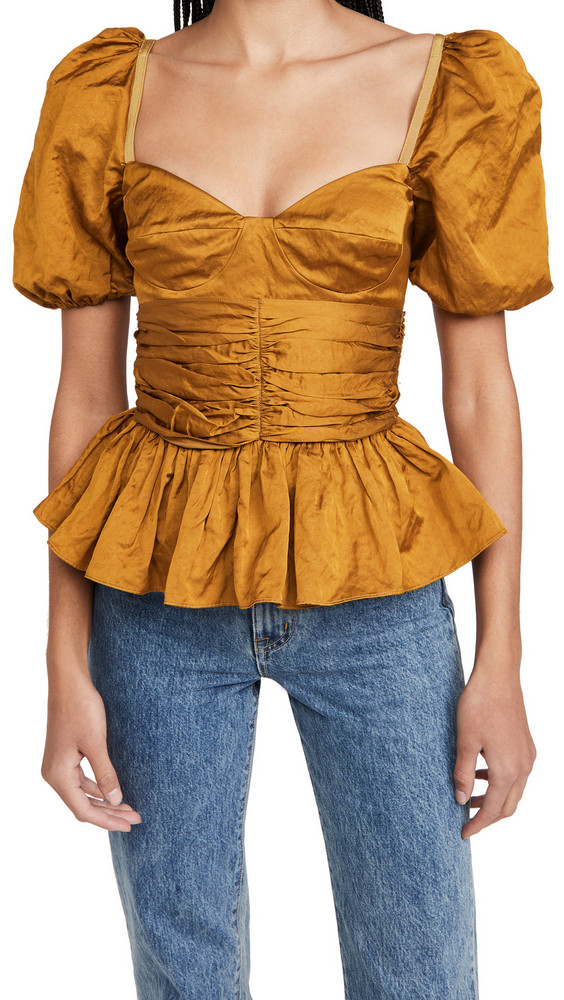 Brock Collection Ladies Woven Shirt Reserve in yellow