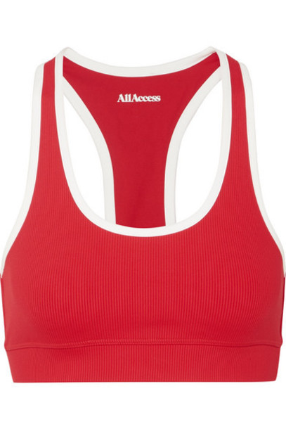 All Access - Front Row Ribbed Stretch Sports Bra - Red