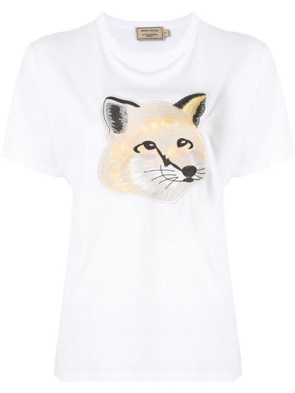 Maison Kitsuné embroidered fox T-shirt in white