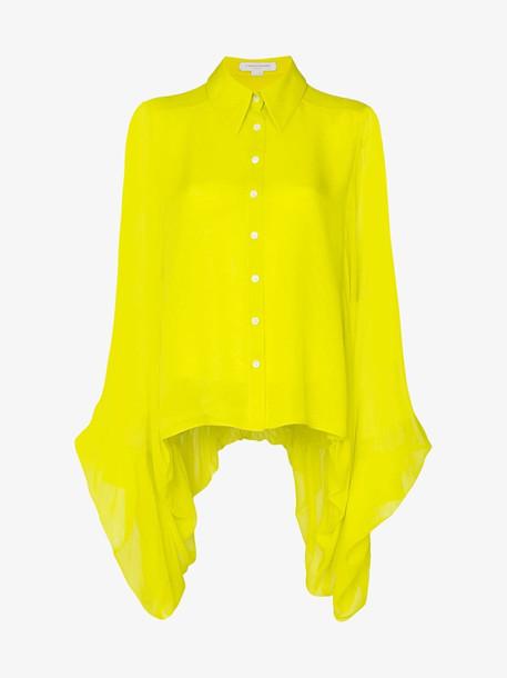 Carolina Herrera draped silk shirt in yellow