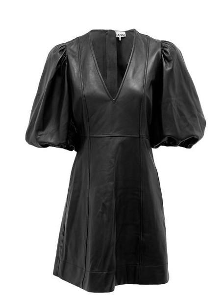 Ganni - Balloon-sleeve Leather Mini Dress - Womens - Black