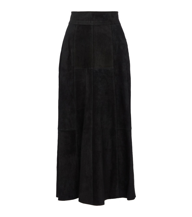 Isabel Marant Caxomia high-rise suede midi skirt in black