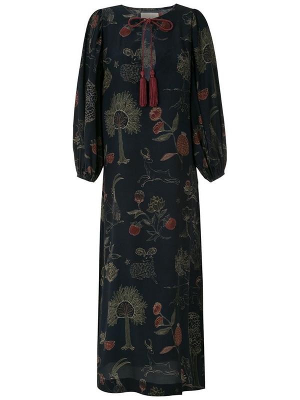 LE SOLEIL D'ETE silk Tarsila midi dress in blue