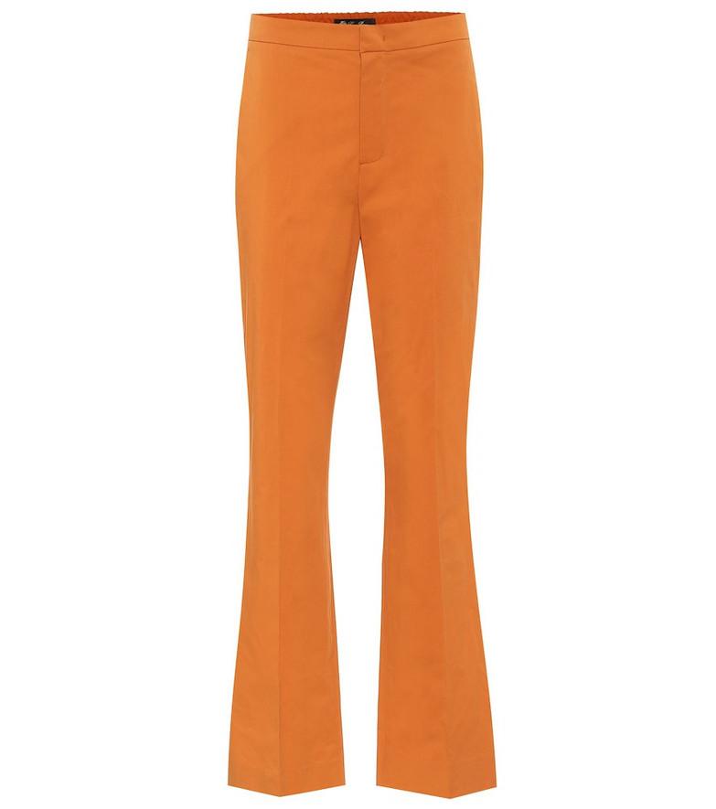 Loro Piana High-rise flared cotton pants in orange