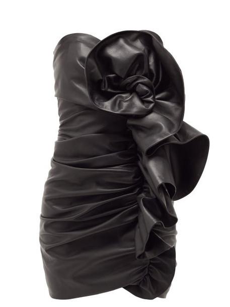Alexandre Vauthier - Strapless Ruffled Leather Mini Dress - Womens - Black