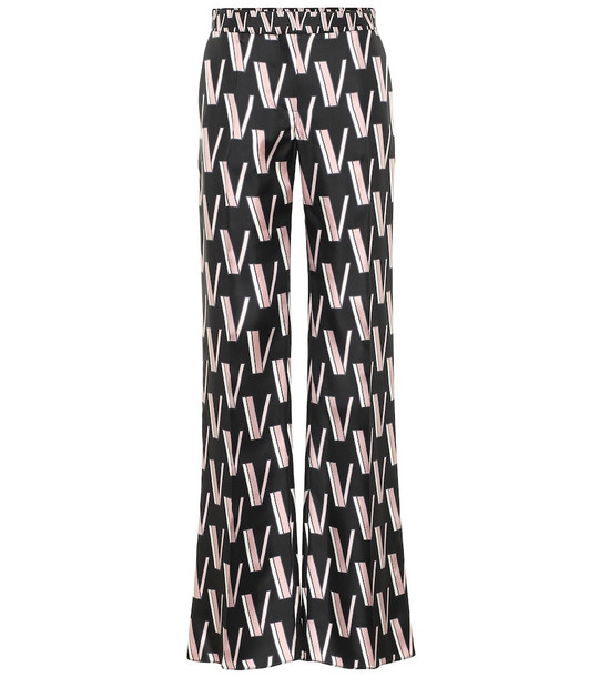 Valentino Silk-twill logo pants in black