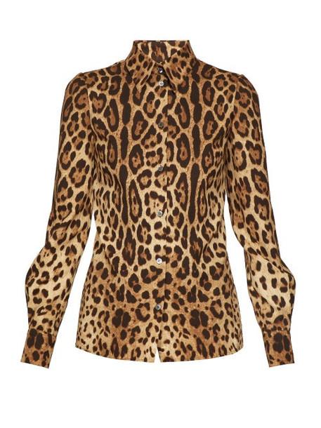 Dolce & Gabbana - Leopard Print Silk Charmeuse Blouse - Womens - Leopard