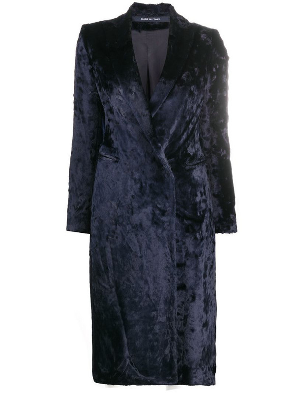 Tagliatore velvet double-breasted coat in blue