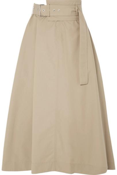 3.1 Phillip Lim - Belted Cotton-blend Poplin Midi Skirt - Beige