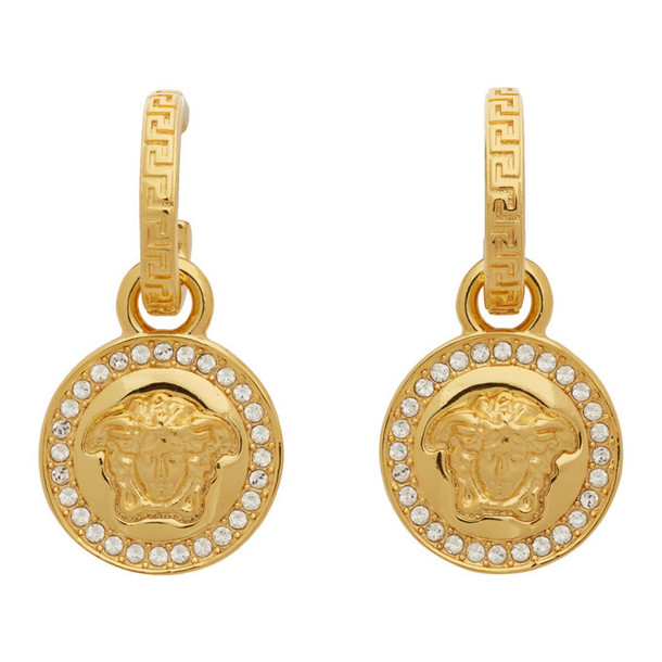 Versace Gold Diamond Medusa Earrings