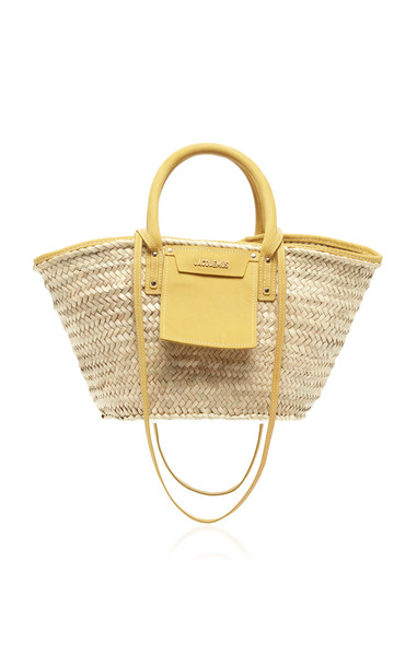 Jacquemus Le Panier Soleil Suede-Trimmed Straw Tote in neutral