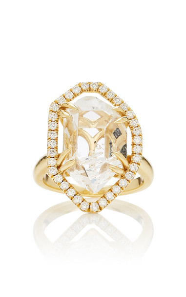 ARK 18K Gold Crystal And Diamond Ring Size: 6