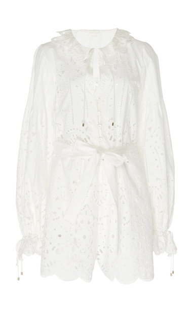 Zuhair Murad Prado Belted Broderie Anglaise Playsuit in white