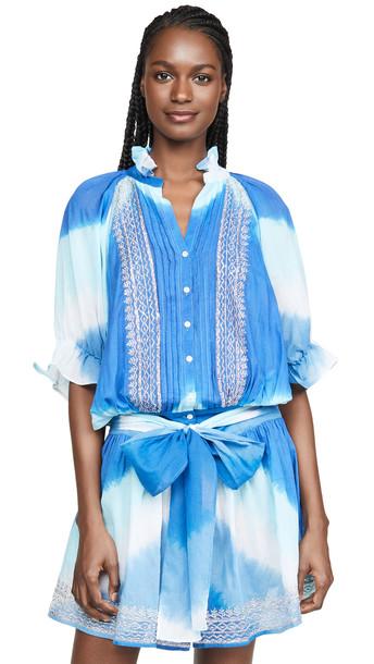 Juliet Dunn Tie Dye Blouson Cover Up Dress in blue / silver