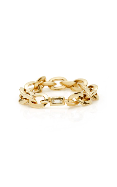 Lizzie Mandler Knife Edge Oval Link Chain Ring with White Diamond Beze in gold