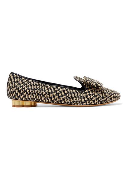 Salvatore Ferragamo - Sarno Bow-detailed Woven Straw Loafers - Black