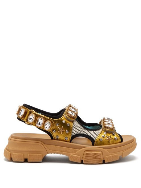 Gucci - Aguru Crystal Embellished Leather And Mesh Sandals - Womens - Gold