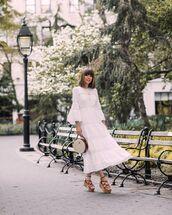 dress,white dress,midi dress,long sleeve dress,michael kors,platform sandals,white bag