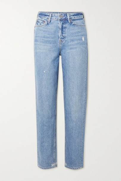 GRLFRND - Devon Distressed High-rise Straight-leg Jeans - Light denim