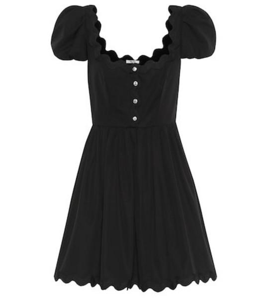 Miu Miu Embellished cotton minidress in black