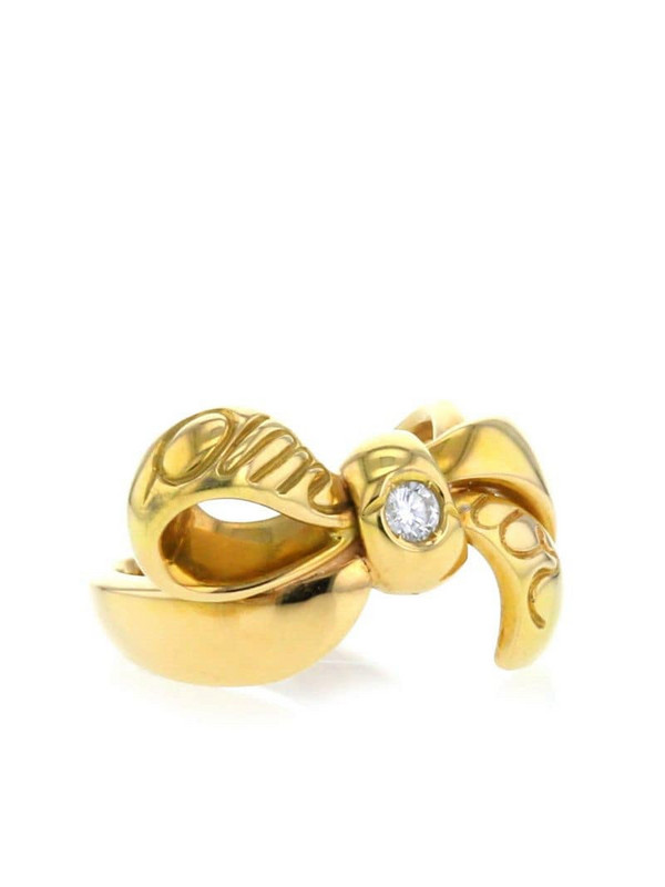 Christian Dior 2000 18kt yellow gold diamond bow ring