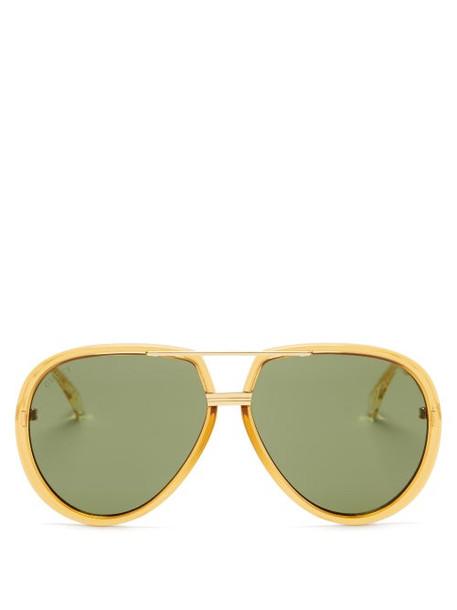 Gucci - Aviator Acetate Sunglasses - Womens - Gold