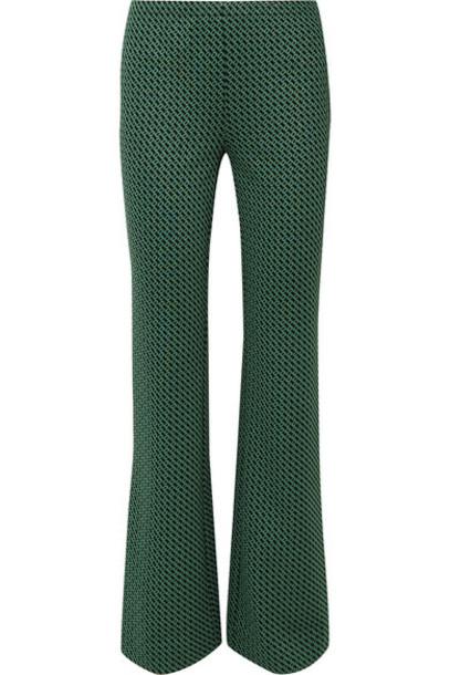 Diane von Furstenberg - Caspian Stretch-jacquard Flared Pants - Green