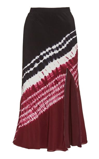Altuzarra Sachiko Silk Crepe Midi Skirt in burgundy