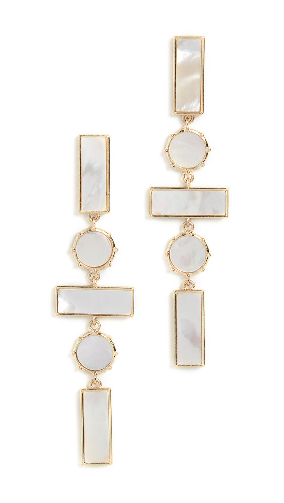 Luv Aj The Mother of Pearl Mosaic Drop Earrings in gold