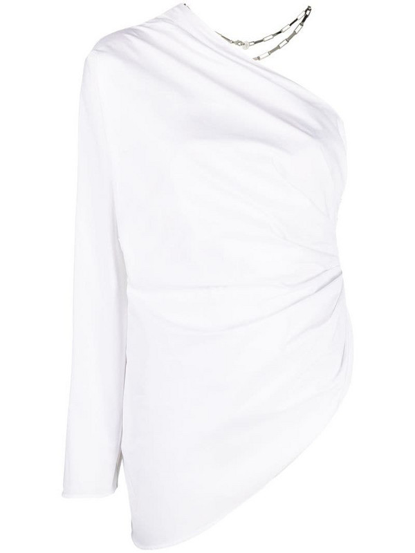 The Attico ruched one-shoulder blouse in white