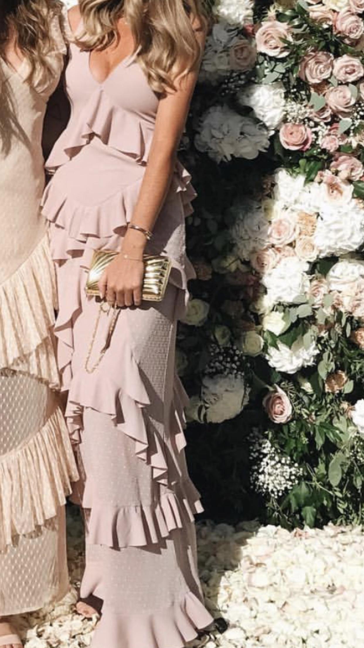 dress pink dress nude dress maxi dress flounced dress